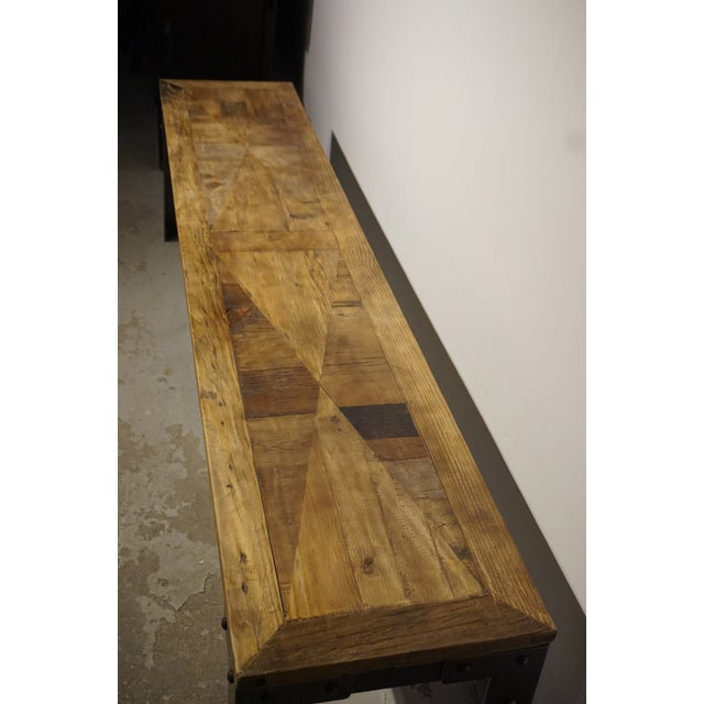 Industrial Reclaimed Wood & Metal Bench - Image 5 of 5