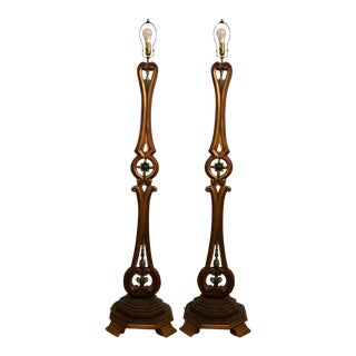 Pair of Tall Standing Venetian Style Floor Lamps For Sale