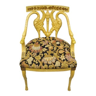 Vintage Mid Century Italian Regency Neoclassical Style Swan Carved Painted Chair For Sale