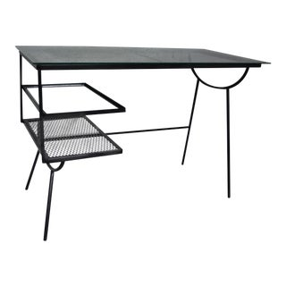 George Nelson for Arbuck Desk Co. Iron & Glass Writing Desk For Sale