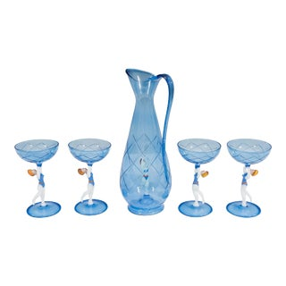Bimini Style Art Glass Decanter and Set of Three Cordial Glasses - 5 Pieces For Sale