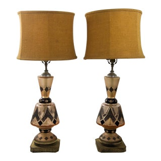 Italian Mid-Century Modern Rose Gold Crystal Colored Table Lamps - a Pair For Sale