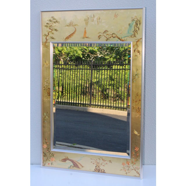 1970s hand painted chinoiserie mirror by La Barge.