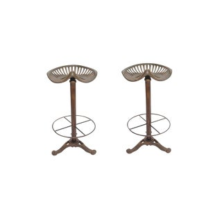 Contemporary Dennis Tractor Iron Bar Stools - a Pair For Sale