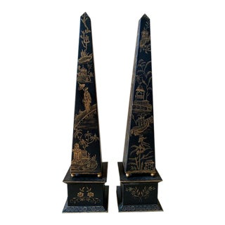 Chinoiserie Tole Obelisks - a Pair For Sale