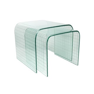 Etched Glass Waterfall Tables by Angelo Cortesi for Fiam - a Pair For Sale