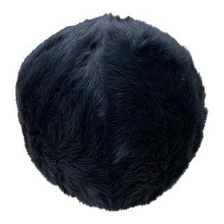 Tasha Tarno Dark Grey Shearling Ball Pillow For Sale