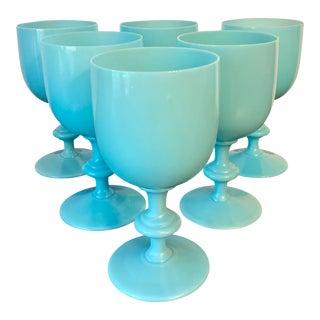 Vintage Blue Opaline Portieux Vallerysthal Glass Goblets - Set of 6 For Sale
