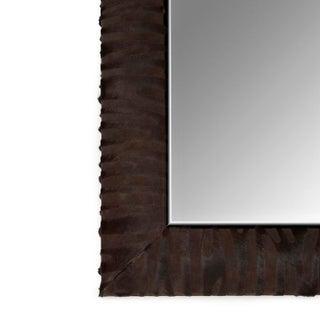 Laser Cut Zebra Patten Cowhide Mirror in Dark Brown Preview