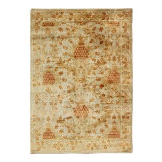 Antique Spanish European Carpet With Pineapple Design in Gold, Cream and Orange For Sale