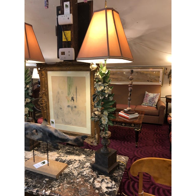 Romantic Very Tall Carved Wood and Gilded Italian Table Lamps For Sale In Philadelphia - Image 6 of 13