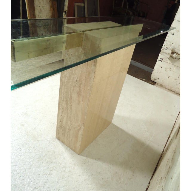 Mid-Century Modern Elegant Travertine Console Table by Artedi For Sale - Image 3 of 9