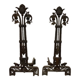 Wrought Iron Antique Andirons - A Pair For Sale
