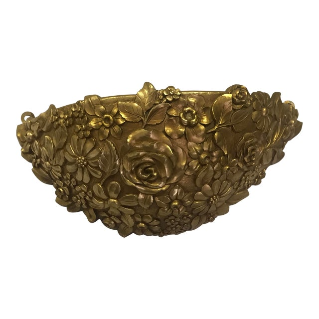 Vintage 1970's Syroco Inc. Gold Plastic Floral Detail Wall Pocket / Basin For Sale