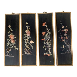 Chinese Mid-Century Floral Motif Soapstone Wall Panels - Set of 4 For Sale