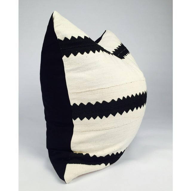 White and Black Striped Mudcloth Pillow - Image 3 of 5