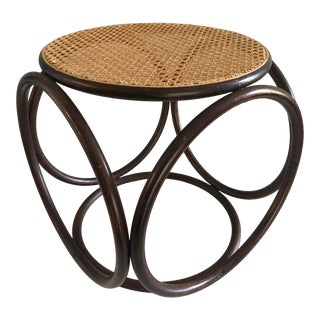 Vintage Thonet Bentwood Rattan Cane Ottoman Footstool Stool For Sale