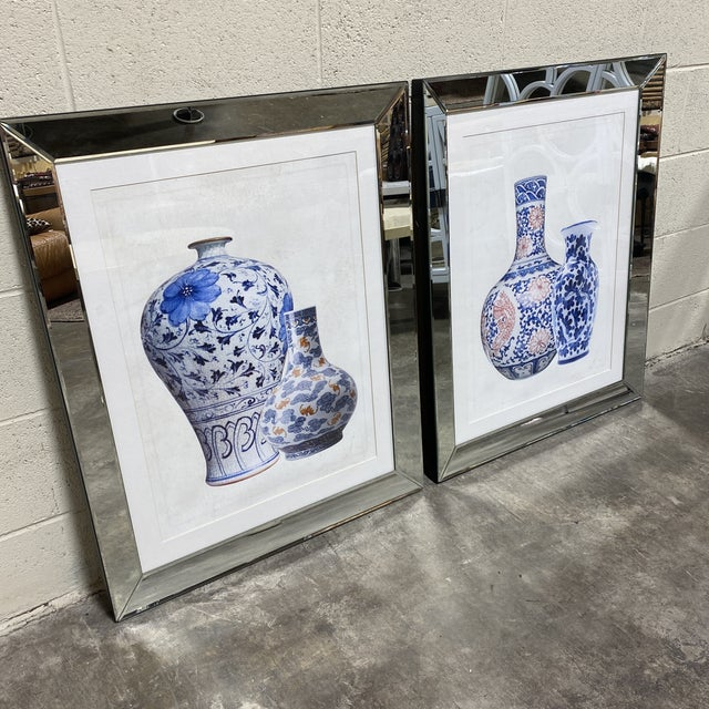 I believe these were produced by Socher Marin, but not sure. Very well made mirrored frame prints of Chinese ginger jars...
