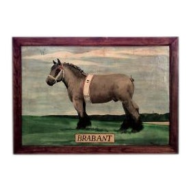 American Country style (20th Cent) oil painting of horse Brabant (signed BENEDETTO) For Sale