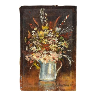 Vintage Mid-Century Miniature Floral Still Life Painting For Sale