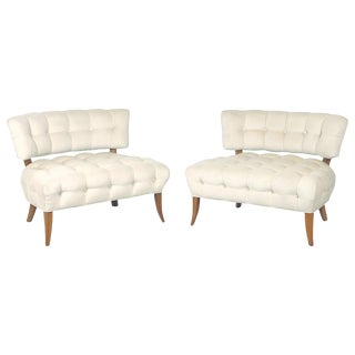 """Wiliam """"Billy"""" Haines Large Scale Tufted Klismos Lounge Slipper Regency Chairs For Sale"""