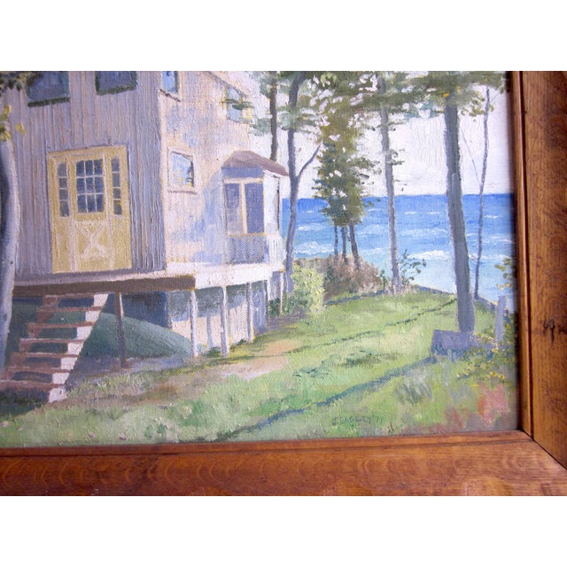 1971 Vintage Rural Cottage Scene Signed Acrylic on Canvas Painting For Sale - Image 9 of 10