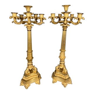 1830s French Louis Philippe Antique Bronze Candelabras - a Pair For Sale
