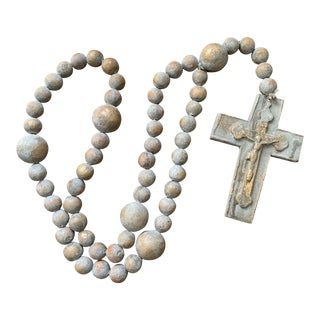 Handmade Oversized Gray Clay Pottery Rosary Wall Hanging or Table Decoration For Sale