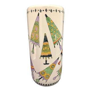 Vintage Hand Painted Porcelain Umbrella Motif Umbrella Stand For Sale