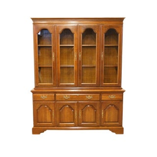"Cresent Solid Cherry 64"" Breakfront China Cabinet For Sale"