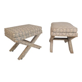 Pair of Midcentury Billy Baldwin Style Ottomans For Sale