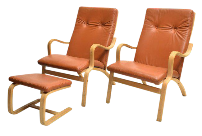 Modern leather armchair Real Leather Set Of Danish Modern Leather Armchairs With Matching Ottoman Chairish Modern Paulistano Leather Armchair Chairish