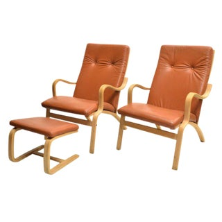 Set of 2 Danish Modern Leather Armchairs with Matching Ottoman