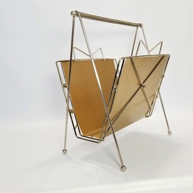 Rare Atomic Mid Century Modern Magazine Holder Rack - Sputnik Era 1950s Abstract Minimalist Art Deco For Sale - Image 4 of 13
