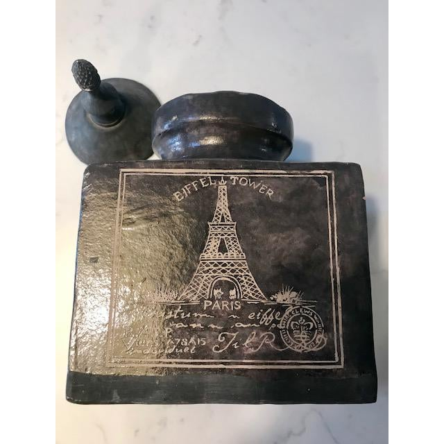 Eifel Tower Jar With Lid For Sale - Image 4 of 13