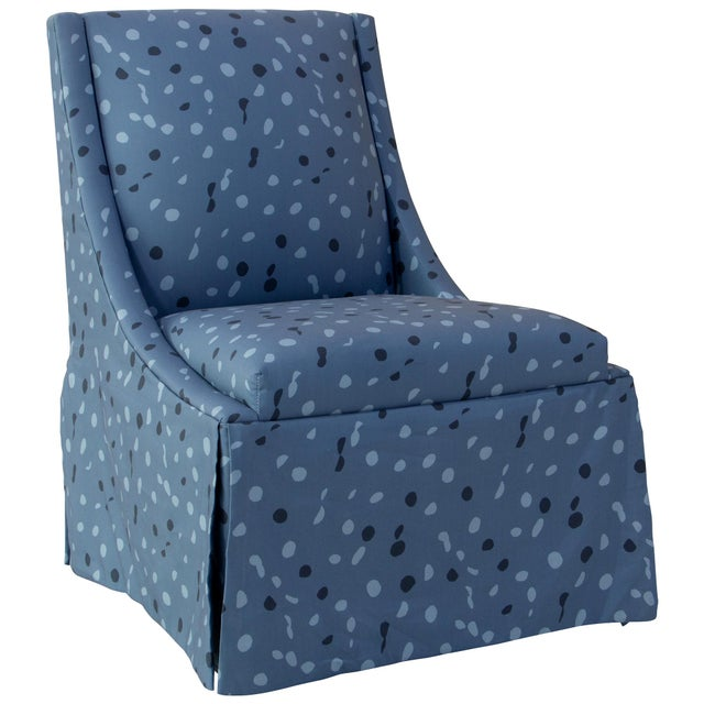 Skirted Accent Chair in Blue Dot by Angela Chrusciaki Blehm for Chairish For Sale - Image 10 of 10