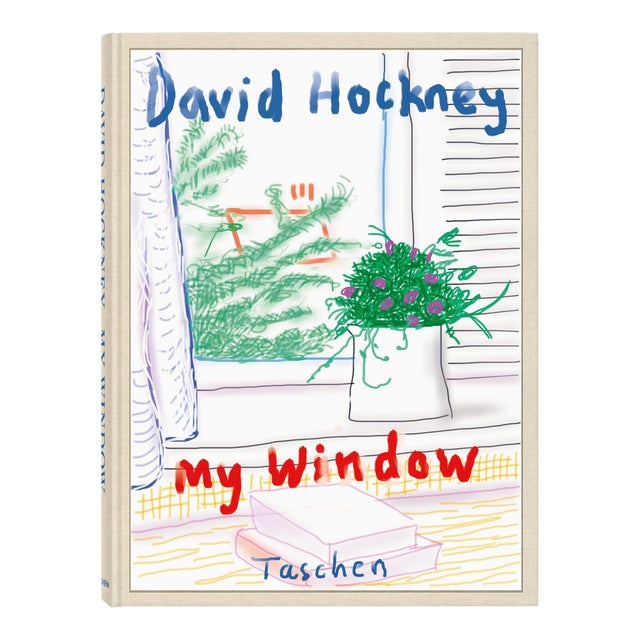 """TASCHEN Books Autographed David Hockney """"My Window"""" Painting Collection, Collectors Edition For Sale"""