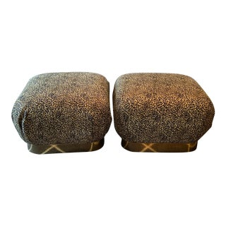 Pair of Karl Springer Soufflé Poufs by Preview For Sale