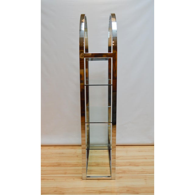 Milo Baughman-Style Arched Chrome & Glass Etagere - Image 4 of 7