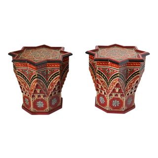 Mid 20th Century Moroccan Moorish Star Shape Red Side Tables - a Pair For Sale