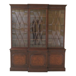Baker Vintage Mahogany English Style Breakfront For Sale