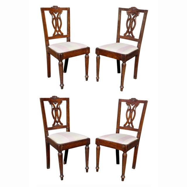 Set of Four Italian Neoclassic Walnut Side Chairs For Sale - Image 9 of 9