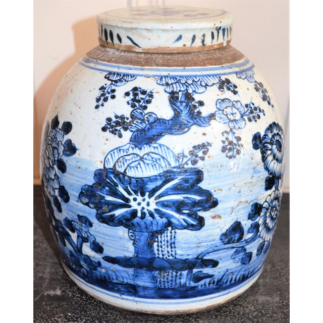 2010s Chinoiserie White & Blue Floral Ginger Jar For Sale - Image 5 of 7