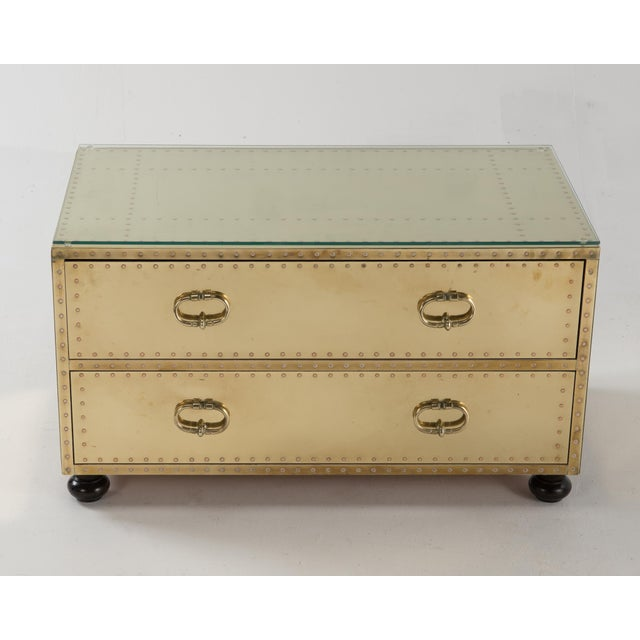 Metal 1970s Spanish Sarreid Brass Clad Two-Drawer Chest For Sale - Image 7 of 13