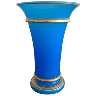 Antique French Blue Opaline Glass Vase For Sale