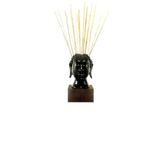 Buddha-Form Mahogany and Black Lacquer Sculpture on White Lucite Pedestal