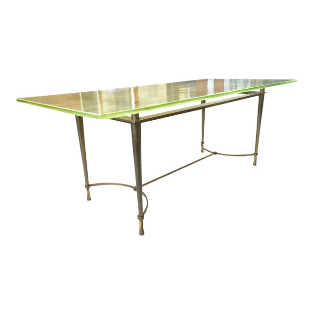 Jacques Quinet Unique Superb Design Dining Table With Sand Glass Top For Sale