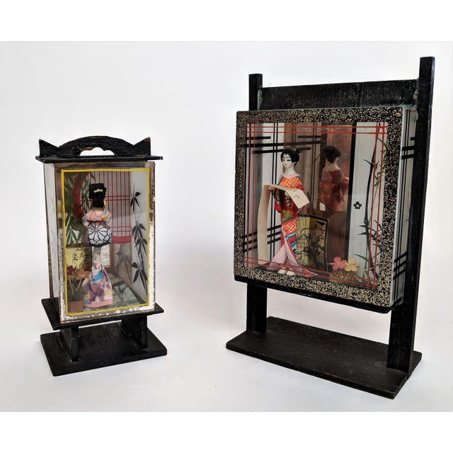 Vintage Japanese Miniature Geisha Shadow Boxes - A Pair - Image 2 of 11