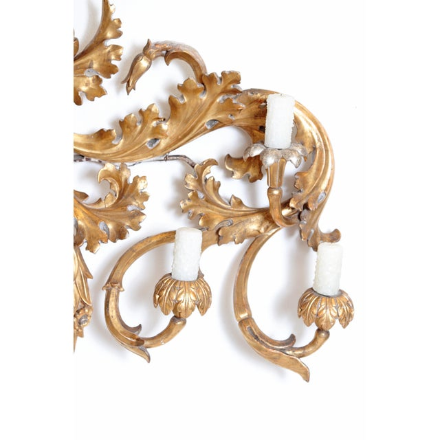 Oversized Italian Baroque-Style 7-Arm Gilt and Silvered Wood Wall Sconce For Sale - Image 4 of 13