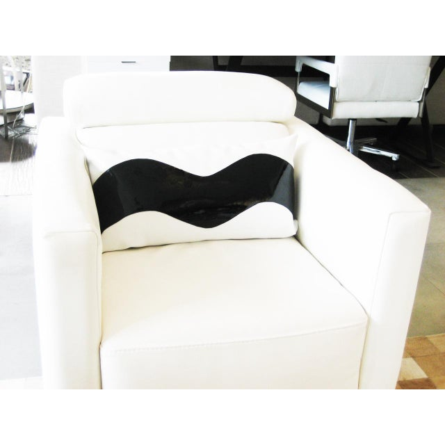 Lumbar Wave Black and White Decorative Pillow For Sale - Image 5 of 5